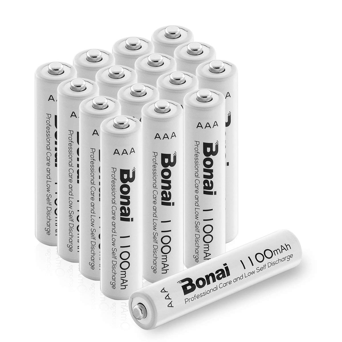 BONAI 1100mAh AAA Rechargeable Batteries 1.2V Ni-MH High-Capacity Batteries 16 Pack - UL Certificate