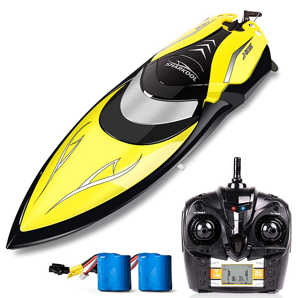 Remote Control Boats - SHARKOOL H106 Rc Self Righting Racing Boats for Boys & Girls, 2.4Ghz High Speed Remote Control Boat Toys for Kids Or Adults. (Black)