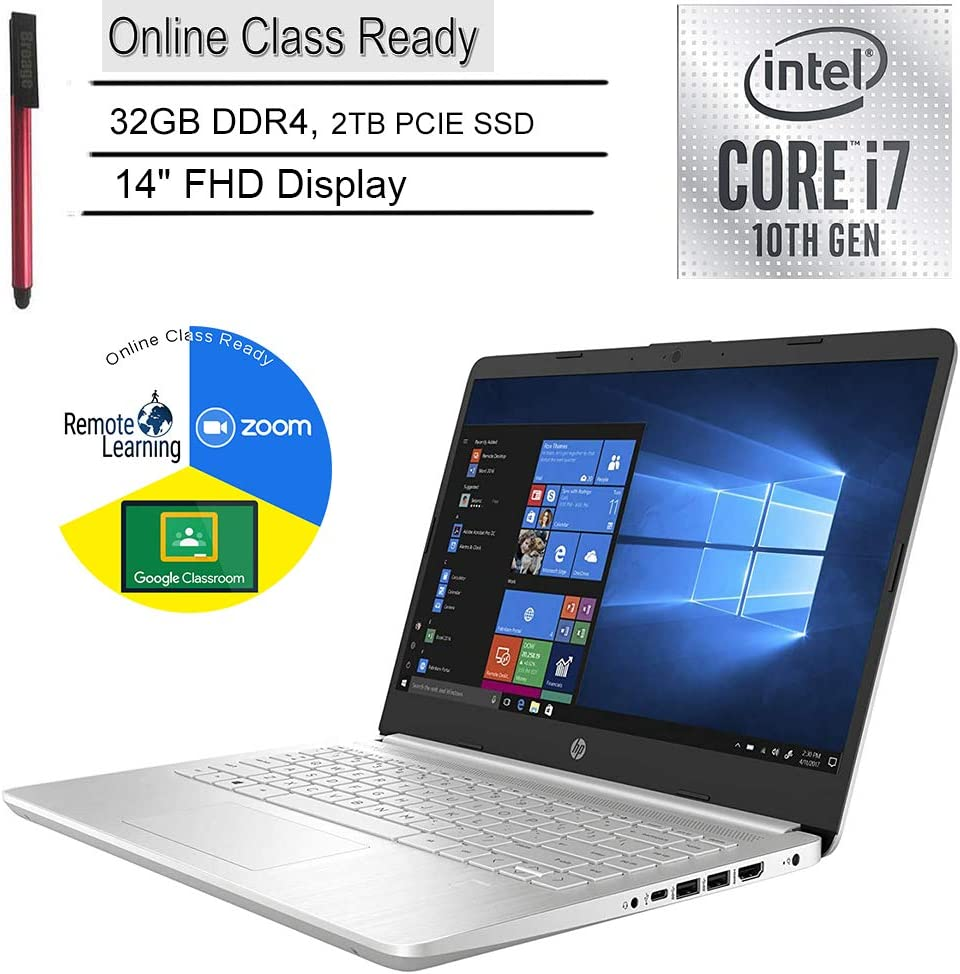 "2020 HP 14 Laptop Computer_ 14"" FHD_ 10th Gen Intel Quard-Core i7 1065G7 up to 3.9GHz_ 32GB DDR4_ 2TB PCIe SSD_ Online Class Ready_ Webcam_ HDMI_ Silver_ Windows 10_ BROAGE 64GB Flash Drive"