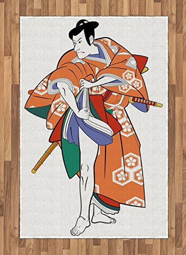 Historical Themed Costumes (Kabuki Mask Area Rug by Ambesonne, Kabuki Actor with Traditional Costume Historical Edo Era Drama Japan Culture, Flat Woven Accent Rug for Living Room Bedroom Dining Room, 4 x 6 FT, Multicolor)