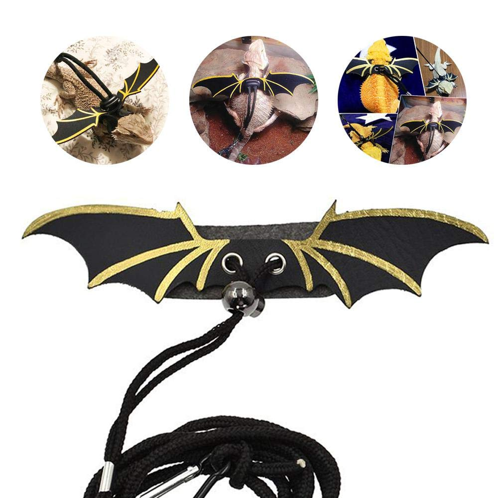 TEEPAO Reptile Leash With Wings 3 Size Optional Ultra Comfort Leather Reptile Harness Leash Collar Lead With Adjustable Buckle For Lizard//Bearded Dragon//Ferret//Hamster
