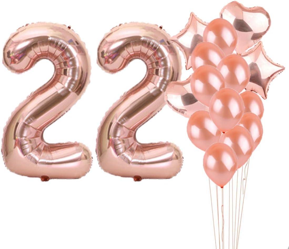 Partyzubehör Zum 22 Geburtstag Luftballons Aus Roségold Zahl 22 Mylar Luftballon Latex Ballon Dekoration Tolles Geschenk Zum 22 Geburtstag Für Mädchen Foto Requisiten Küche Haushalt