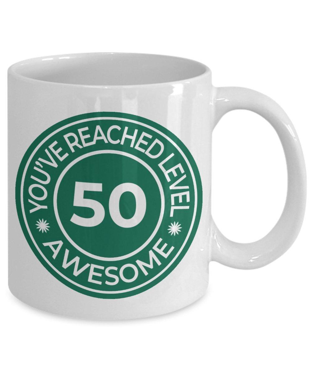 5oth anniversary gifts - Unique Coffee Mug, Tea Cup - Birthday/Wedding Anniversary Gift Mug For Mom, Dad, Aunt, Uncle, Grandma Granddad - You've Reached Level 50! (11oz, green)