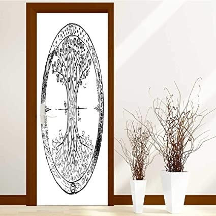 Leighhome Self Adhesive Wallpaper For Home Bedroom Decor Yggdrasil Celtic Tree Of Life Mandala 3D Door