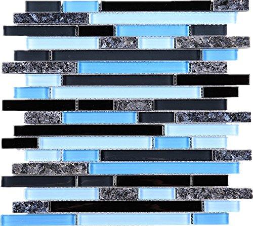 TNLQG-06 Blue Black Glass with Blue Pearl Marble Mosaic Tile-Kitchen and Bath backsplash Wall Tile