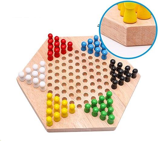 Owenqian Ludo Juego Set Juego de Mesa de Madera Hexagonal Familia Juego Chino Tradicional Juego de Damas Chinese Checkers Juego de Mesa Juego de Familia (Color : True Color, Size : 23.5x20.5x4cm):