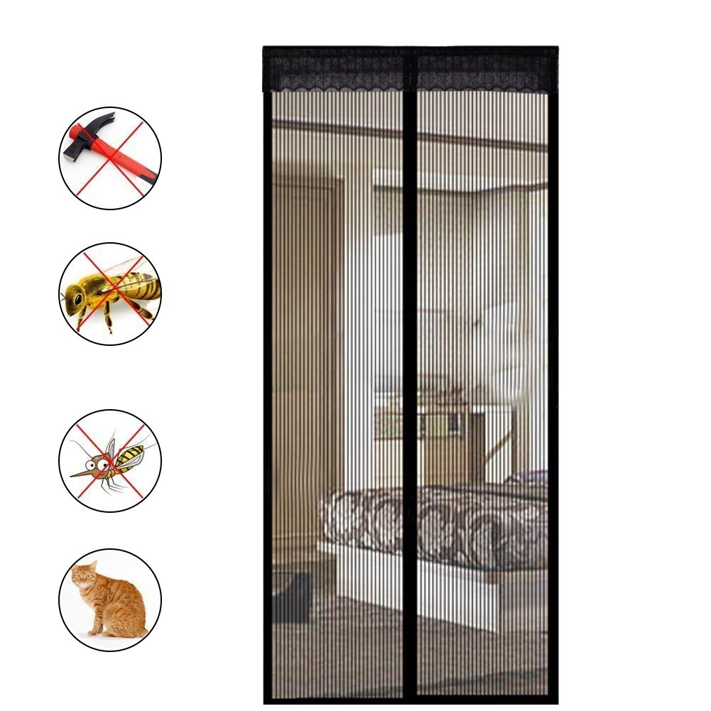 Extsud Magnetic Screen Door Keep Insects Out Mosquito Door Screen Easy to Install without Drilling Top-to-Bottom Seal Automatically for Balcony Sliding Living Room Children's Room, 90x210 cm