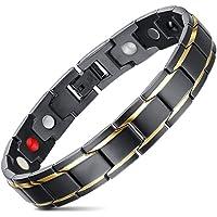 JFUME Mens Link Bracelet Gold Black Stainless Steel Bracelet Magnetic Bracelet 8.3inches