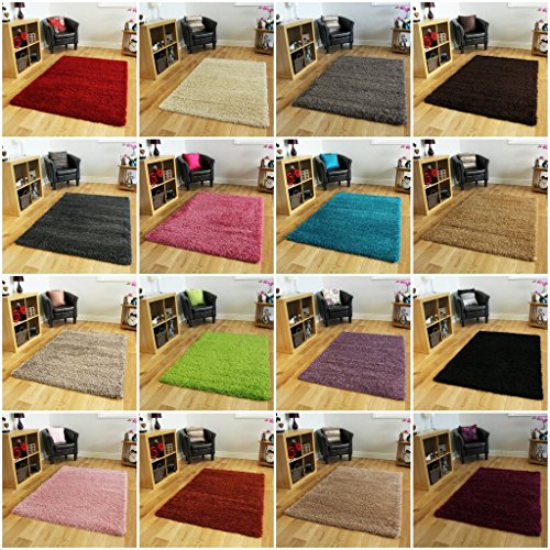 Soft Non Shed Thick Plain Easy Clean Shaggy Area Rugs Ontario - 16 Colours and 14 Sizes Available (Black 3'7