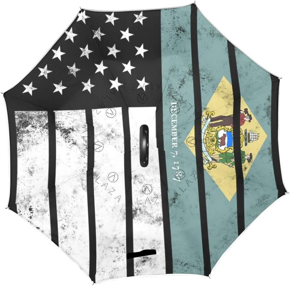 Double Layer Inverted Umbrellas with Distressed American Delaware Flag Print Reverse Folding Umbrella for Car