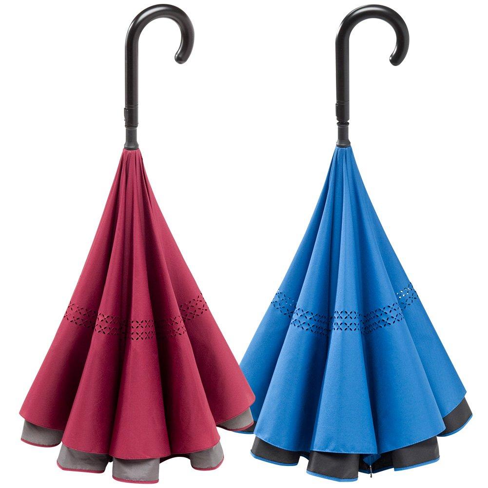 濡れにくい 便利傘 WONDER DRI ワンダードリ 【 ワインレッド1本+ブルー1本 】 B07D1JWHNC【 ワインレッド1本+ブルー1本 】