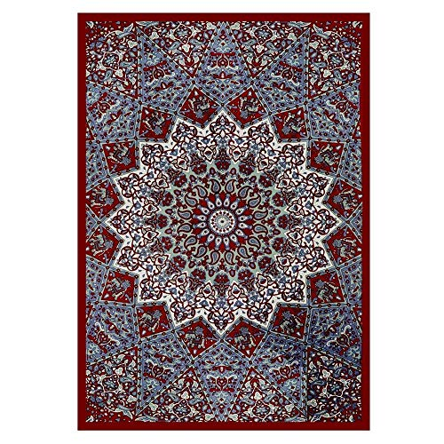 Kangma Tapestry Blanket Mandala Throw Wall Hanging Gypsy Bedspread,Boho Circle Tablecloth or Table Cover,Indian Hippie Roundie Or Square Meditation Rug ()