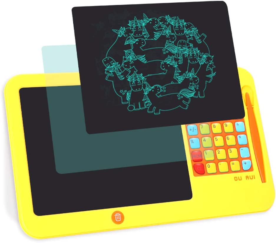 Yellow with Calculator Function Childrens Gift erasable Electronic Graffiti Board 8.5-inch Hand-Painted Blackboard Childrens LCD Tablet Magic Board