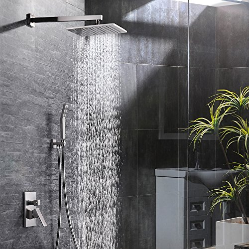 Bathroom Faucet Set Finish (SR SUN RISE 10 Inch Bathroom Luxury Rain Mixer Shower Combo Set Wall Mounted Rainfall Shower Head System Brushed Nickel Finish(Contain Shower faucet))