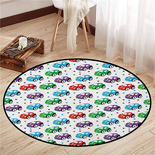 Round Carpets,Cars,Children Baby Boy Toy Figures Pattern with Dots Number Five Cars for Joyous Play Time,Children Bedroom Rugs,4