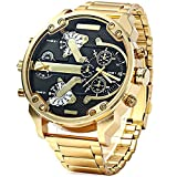 The Grand Big Golden Military Mens Watch. Big Face Watches, Large Face Watches, Mens Oversized Watches.
