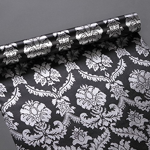 SimpleLife4U Silver Damask Contact Paper Decorative Black Shelf Drawer Liner Peel & Stick 17x118 Inches by SimpleLife4U