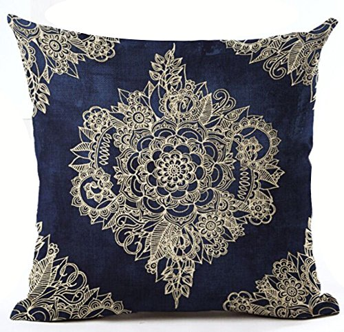 Cotton Linen Square Decorative Throw Pillow Case Cushion Cover Beautiful Blue and White Porcelain Bohemian Flower Boho 18