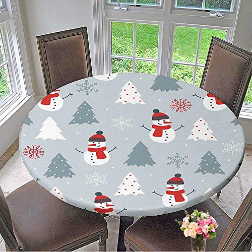 Mikihome Picnic Circle Table Cloths Christmas Seamless Pattern with Snowman,fir Trees and Snowflakes Perfect for Wallpaper for Family Dinners or Gatherings 43.5