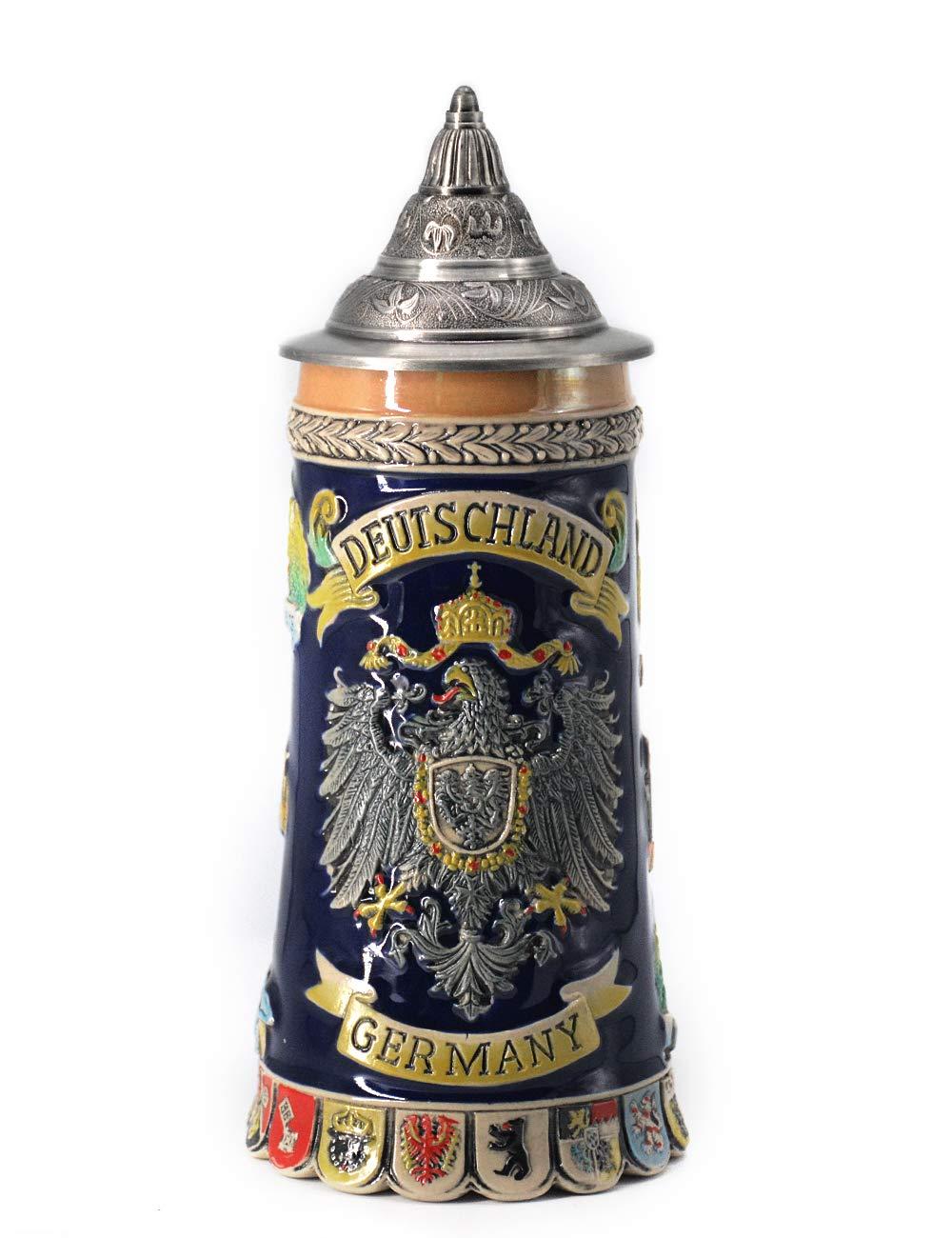 HomeBerry Beer Stein German Beer Stein With Lid Bierkrug Bier Stein Mug Krug Ceramic Beer Stein Steins 0.6L