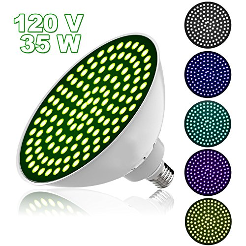 Danti 120V 35W RGB Color Changing Swimming Pool Lights, Led Underwater Color Pool Light Bulb E26 Base 300-500w Traditional Bulb Replacement for Most Pentair Hayward Light Fixture - Astrolite Underwater Lighting