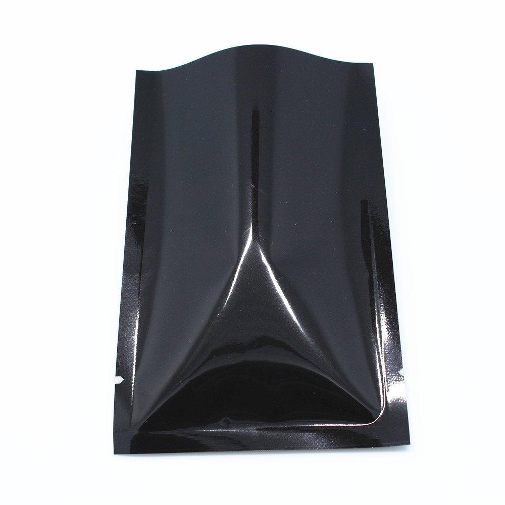 高価値セリー 200個の熱紐付きのアルミ箔パッケージバッグSmell Proofフラットマイラー箔オープントップポーチwith Tearノッチ真空シーラー食品グレードSefe ブラック PackingコーヒーナットWraps 10x15cm(3.9