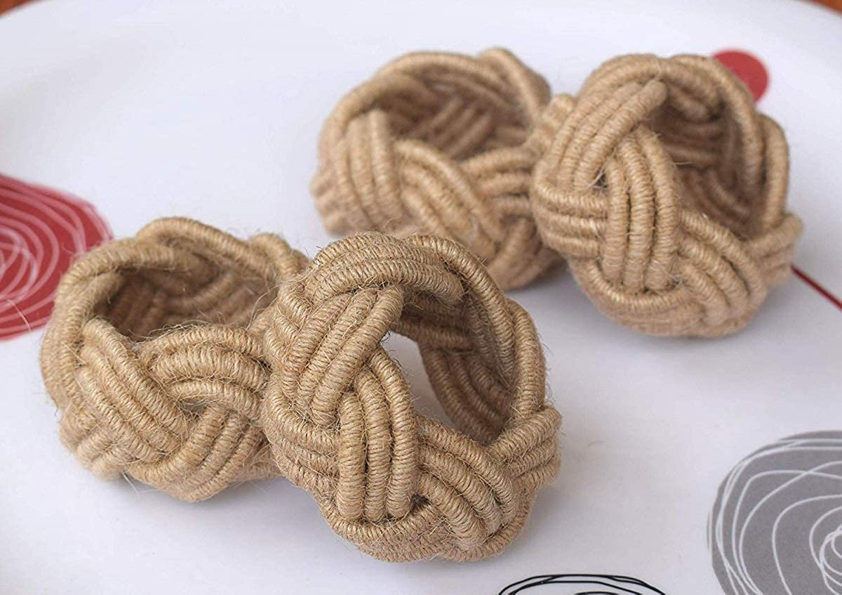Bandwagon Classic Braided Jute Burlap Napkin Rings, (Natural) (Natural) (4)