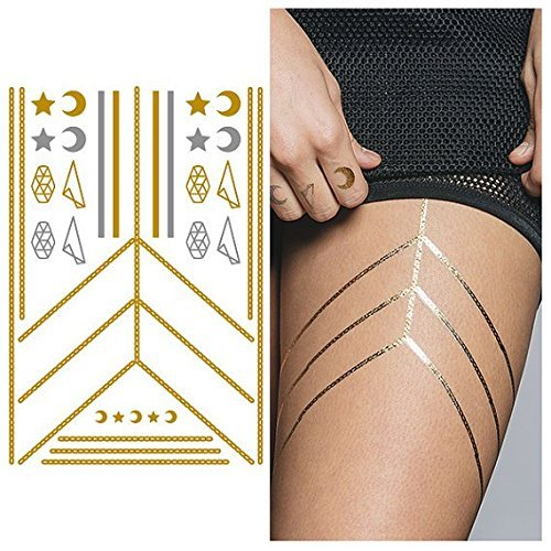 Tattify Gold Silver Moon And Star Necklace Temporary Tattoo - Connected Sheet 1 (Set of 1 sheet) - Other Styles Available and Fashionable Temporary Tattoos (Tattoos Moon Star)