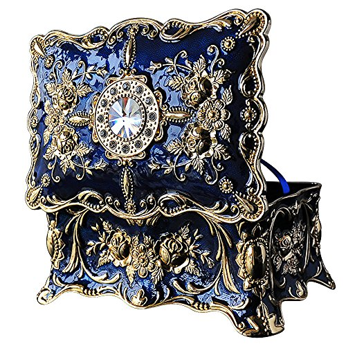 Vintage Jewellery Box Ornate Antique Finish Rectangular Trinket Jewelry Box with Dividers Inside(Blue)