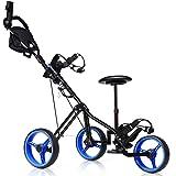 Tangkula Golf PushCart Swivel Foldable 3 Wheel Push Pull Cart Golf Trolley with Seat Scoreboard Bag Golf Push Cart