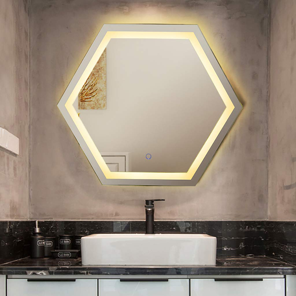 Anti-Fog Touch Switch Specchio Smart per Toilette Buone Prestazioni Anti-et/à Non tossico Adatto per Camera da Letto Bagno Specchio per il trucco Specchio da Parete a LED Esagonale da Parete