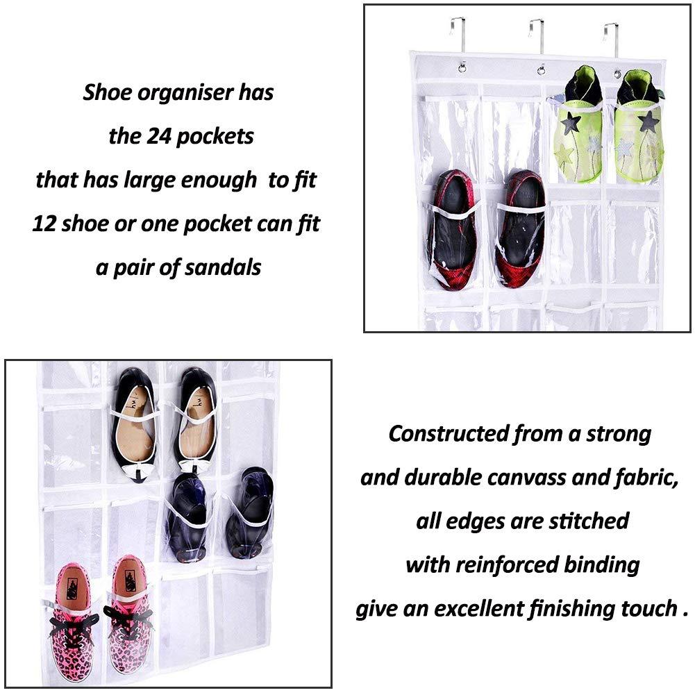 TJW Bolsa Organizador para Zapatos Colgante del Zapato de la Puerta,24 Bolsillos Organizador De Zapatos,Color Transparente