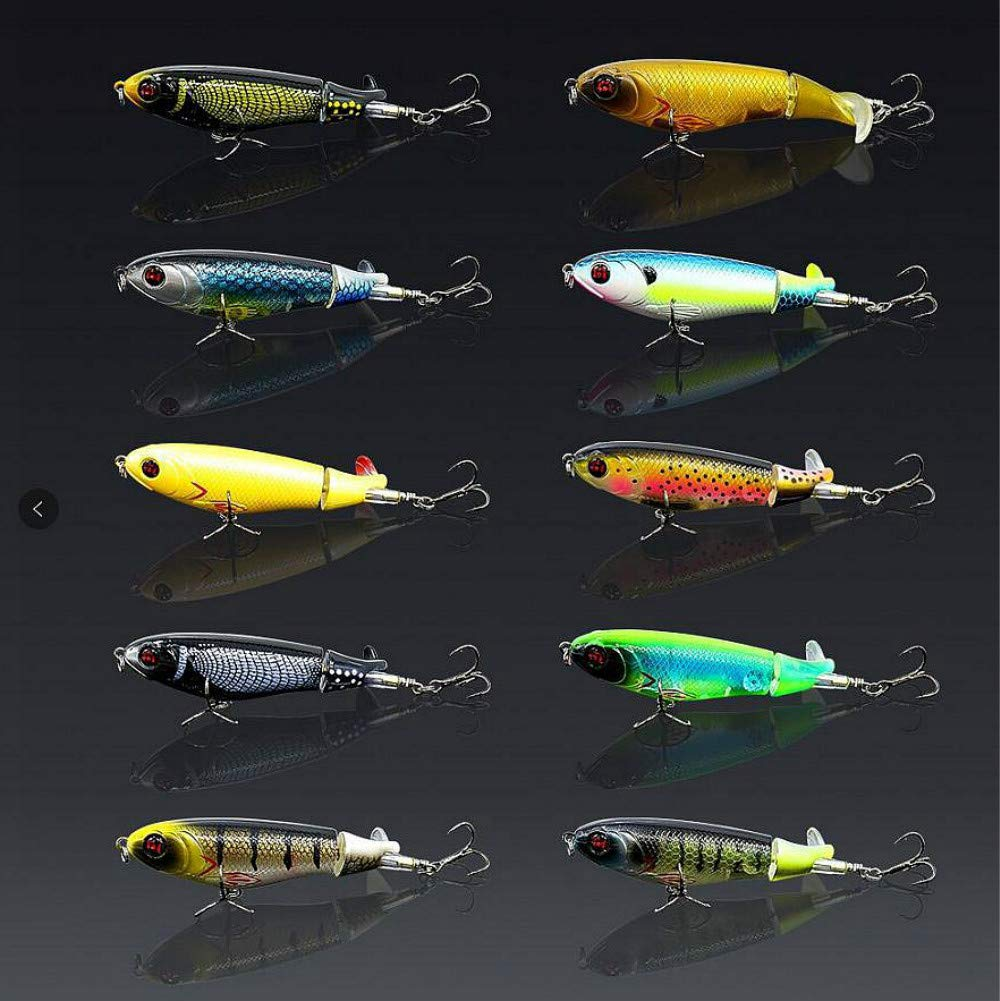 GUFIKY 10-Pack Whopper Plopper Fishing Lures 4.13 inch/0.6 oz with Rotating Spins Tail for Bass,Trout ,Walleye,Pike and Musky Topwater Floating Hard Baits Swimbaits with Barb Treble Hooks by GUFIKY (Image #1)