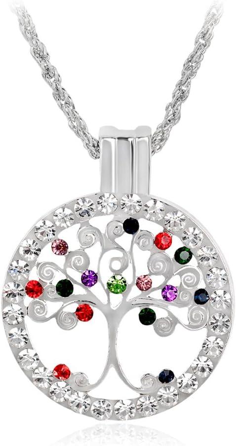 Skyllc® El Árbol de la Vida de Collar colgado Disco Crystal Rhinestone embutió