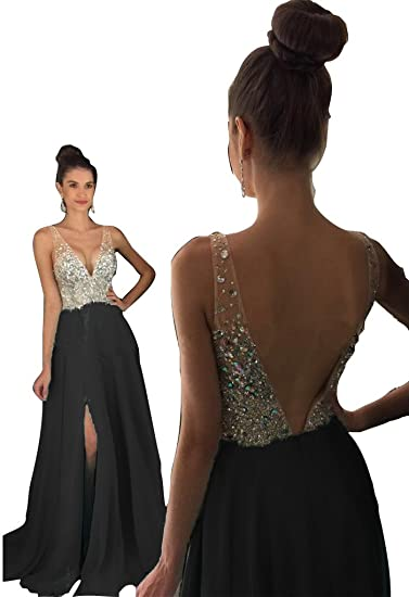 Hongfuyu Prom Dresses Sparkly Crystal Beaded V Neck Open Back Long