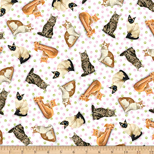 QT Fabrics Fancy Felines Tossed Cats White Fabric by the ()