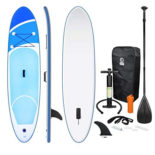 ECD Germany Tabla Hinchable Paddle Surf/SUP - Stand up paddle board - 308 x 76 x 10 cm - azul - PVC - varios modelos - Incluye Bomba, Mochila, Aleta ...
