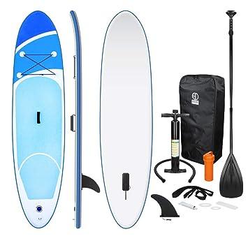 ECD Germany Tabla Hinchable Paddle Surf/SUP - Stand up paddle board - 308 x 76 x 10 cm - azul - PVC - varios modelos - Incluye Bomba, Mochila, Aleta ...