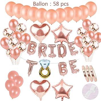 58 pzas JGA Deco Globos Juego de oro rosa: Cartas de helio Láminas de globos