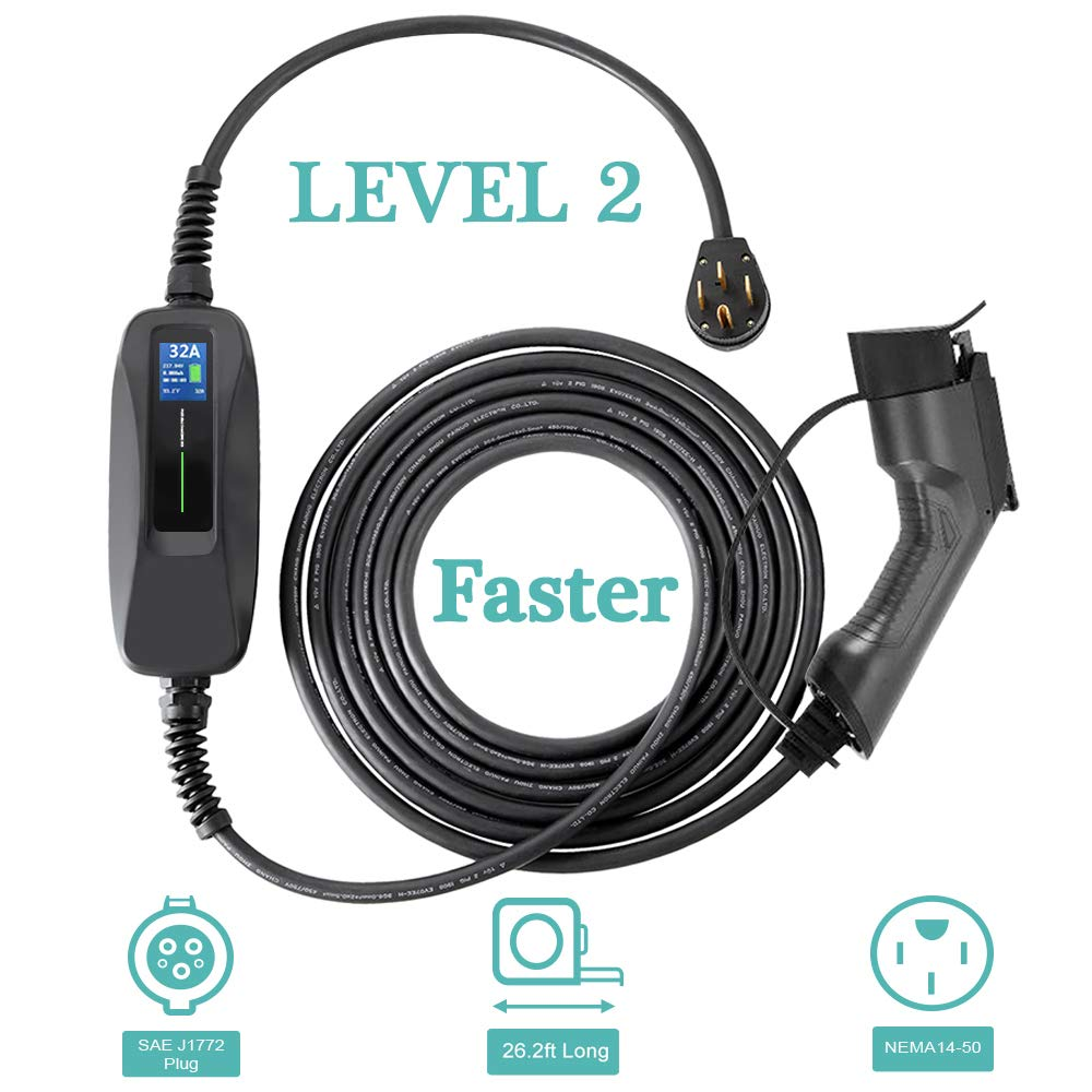 Morec 32 Amp EV Charger Level 2, NEMA14-50 26ft 220V-240V Upgraded Portable EV charging cable Station, Electric vehicle charger Compatible with All EV Cars.