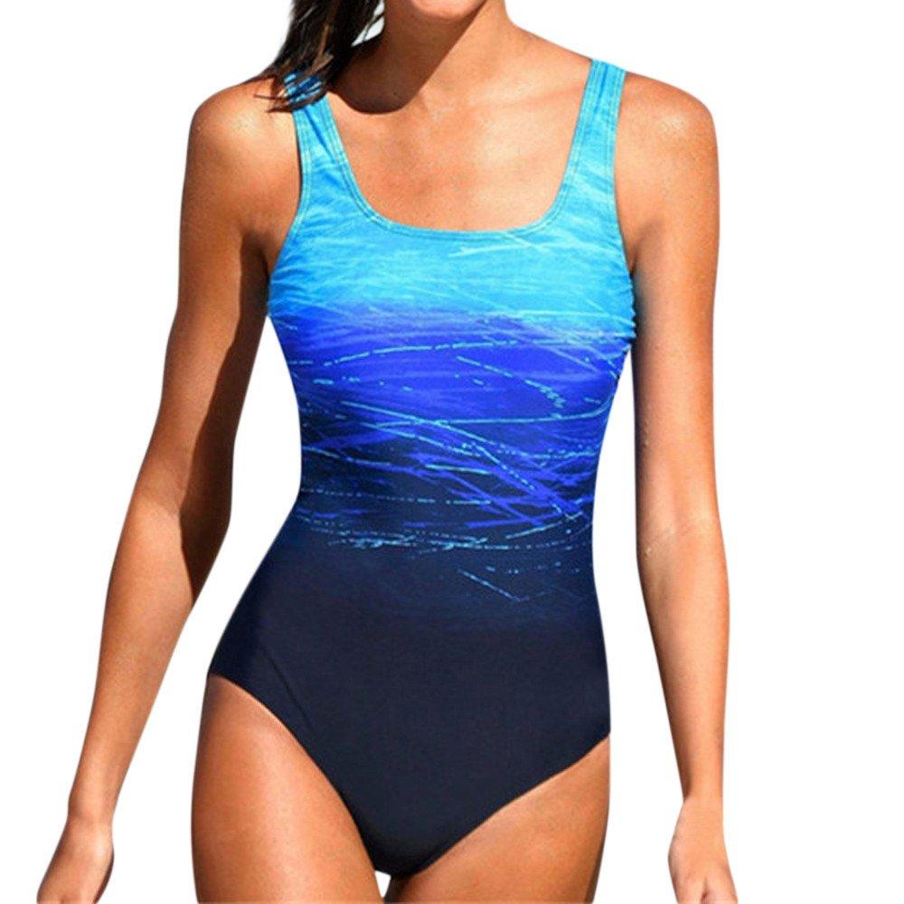 FRAUIT Damen Athletic Badeanzug Training Gradient Criss Cross Zurück Monokini Bikini Sets Bademode