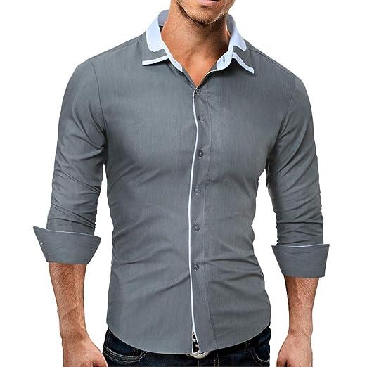 Oudan - Camisa de Manga Larga para Hombre, Color Liso, Color Gris ...