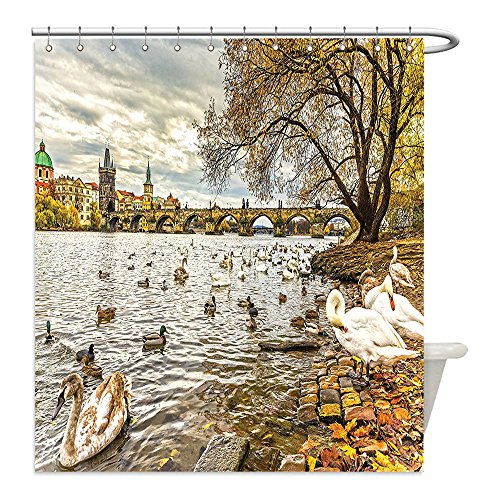 Liguo88 Custom Waterproof Bathroom Shower Curtain Polyester Art Decor Prague Charles Bridge and Old Town Czech Republic Riverside Scenic View with Swans Gold Grey Decorative - Riverside The Galleria