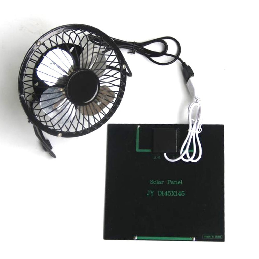 Solar Panel Powered Fan, 3W 6V USB Mini Ventilation Cooling Iron Fan for Camping Caravan Yacht Greenhouse Dog House Chicken House by Carole4 (Image #3)