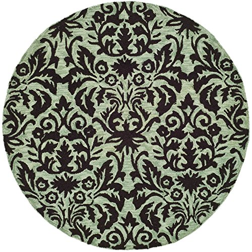 Safavieh Chelsea Collection HK368C Hand-Hooked Sage and Chocolate Premium Wool Round Area Rug (3' Diameter)