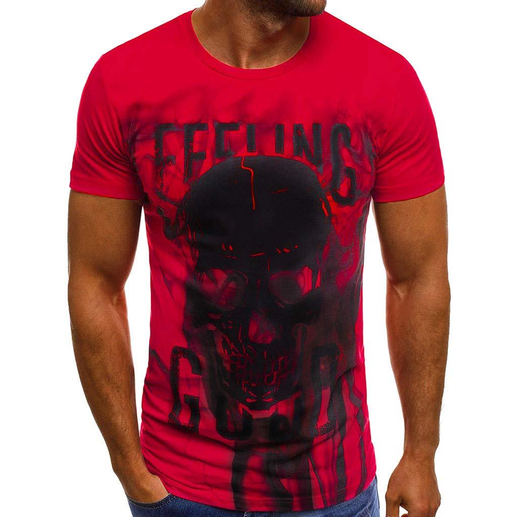 Winsummer Men's Vampire Skulls T-Shirt Short Sleeve Casual Print Graphic Tee Summer Man Tshirts Tops Red