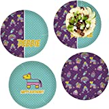 Pinata Birthday Set of 4 Lunch / Dinner Plates (Glass) (Personalized)
