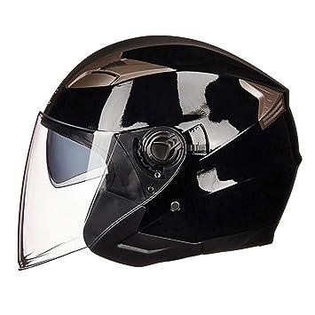 DLD Cascos de Moto Jet Retro, Unisex Cascos para Moto Gafas de Sol Incorporadas Seguridad