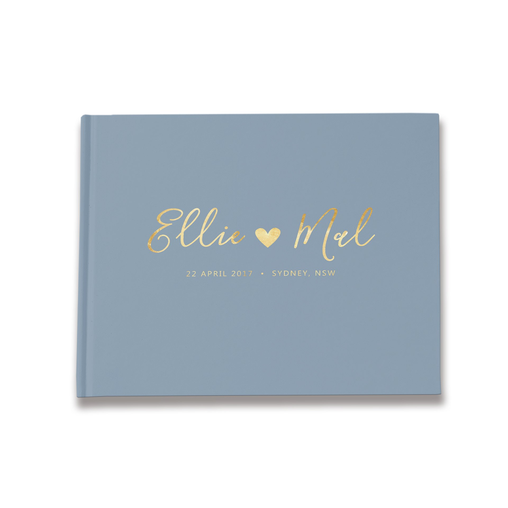 Personalized Wedding Guest Book, Dusty Blue Wedding Guestbook, Custom Guestbook (9 x 6 inches)