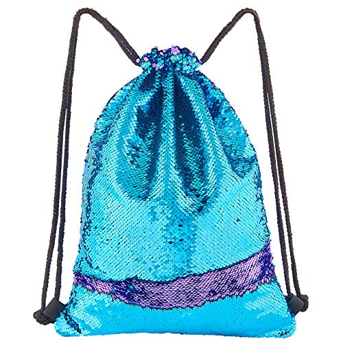 Play Tailor Mermaid Sequin Bag, Reversible Sequins Drawstring Backpack Glittering Outdoor Sports Bag Dance Bag